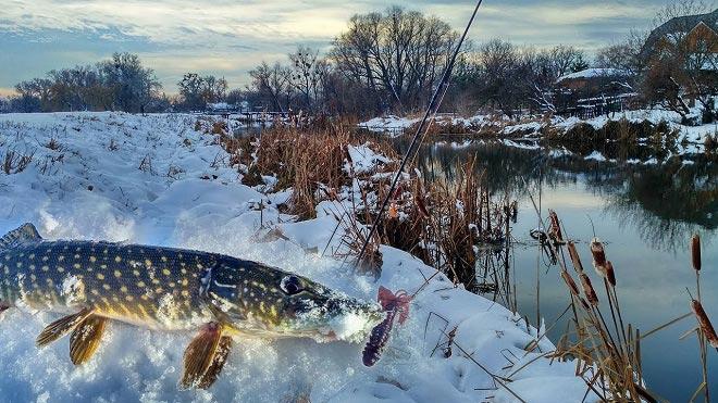 Щука на малых реках в марте